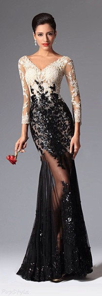 formal dress dress lace long dress evening dress black and white