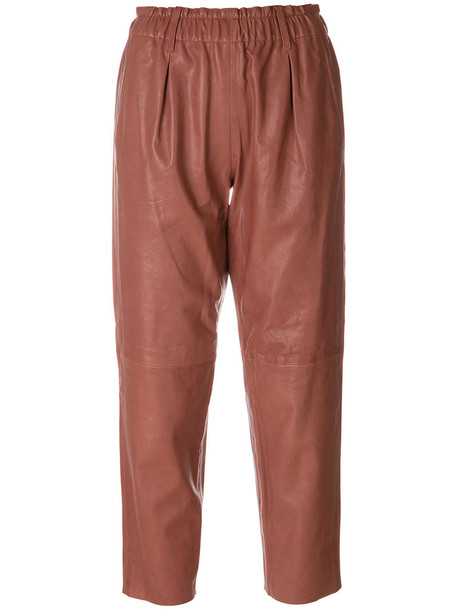Forte Forte cropped women leather purple pink pants