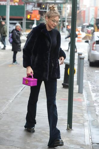 top pants all black everything gigi hadid model off-duty streetstyle jacket winter jacket