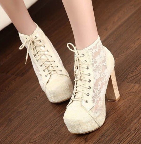 shoes white lace heels