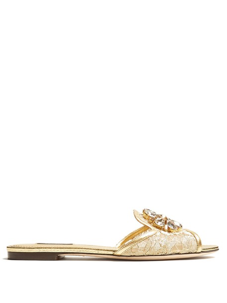 Dolce & Gabbana embellished lace gold shoes