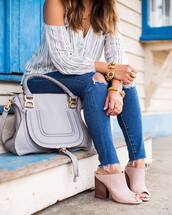 jewels,blouse,tumblr,jewelry,gold jewelry,bracelets,gold bracelet,ring,gold ring,heels,pink heels,mules,jeans,blue jeans,ripped jeans,stripes,striped top,bag,grey bag