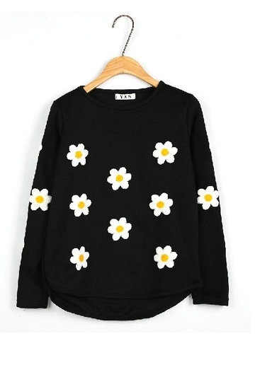 Fancy Flower Design Long-sleeved Pullover [FOBK0093] - PersunMall.com