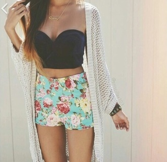 shorts short top flowered shorts