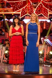 dress,strappy,red dress,tiered,claudia winkleman,strictly come dancing