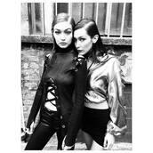 top,bra,instagram,lace up,bella hadid,gigi hadid,model off-duty,hoodie,skirt,milan fashion week 2016