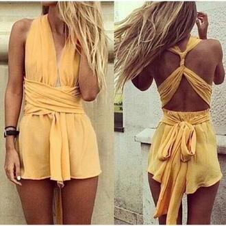 dress party yellow cross strap