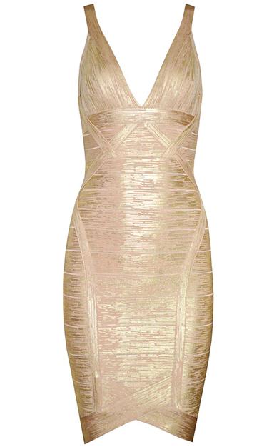 Woodgrain Foil Print Asymmetrical Bandage Dress Gold