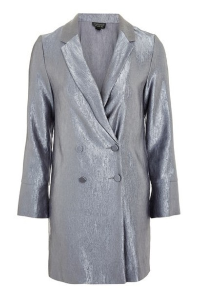 Topshop dress blazer dress metallic charcoal