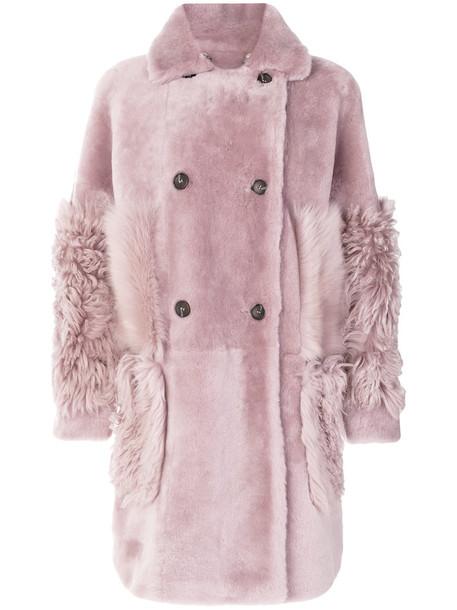 coat double breasted women purple pink