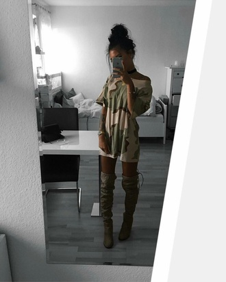 dress shirt camouflage camo shirt tumblr instagram baddies olive green green over the knee boots leggings oversized t-shirt shoes