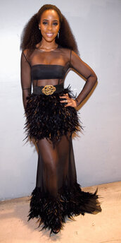 dress,see through,see through dress,feathers,black dress,gown,prom dress,bandeau,kelly rowland