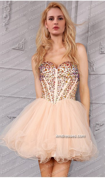 gorgeous superstar beads jewels covered low-back fitted short prom dress