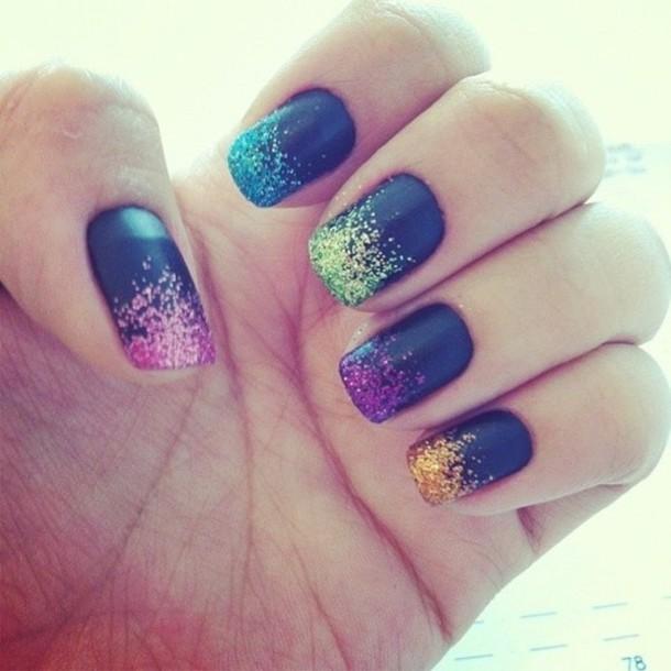 Nail polish: nail art, glitter, pink, purple and blue ...
