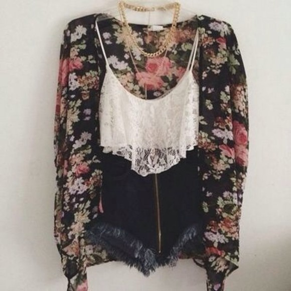floral cardigan shorts top tank top ebony lace ebonylace-streetfashion sweater black t-shirt tumblr blouse floral kimono black and floral floral cardigan High waisted shorts lace crop tops