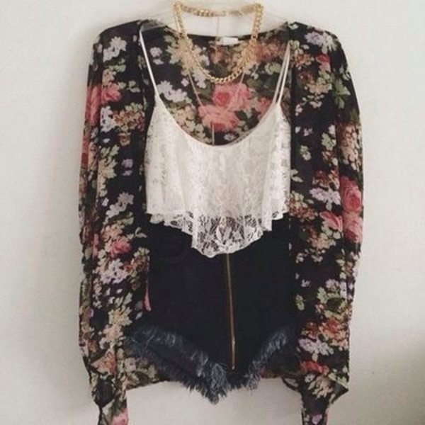 tank top ebonylace.storenvy ebonylace-streetfashion spaghetti strap top sweater cardigan floral black t-shirt shorts tumblr blouse floral kimono black and floral floral cardigan High waisted shorts lace crop tops shirt top kimono cropped tank