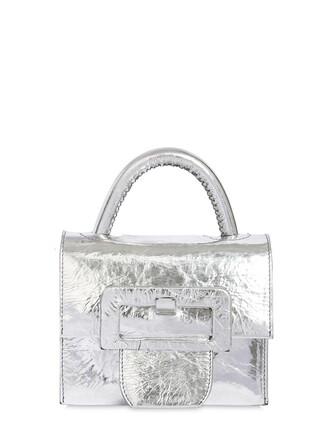 mini shoulder bag mini metallic bag shoulder bag leather silver