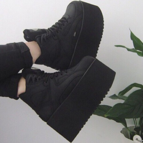 good quality get new separation shoes shoes, black, platform trainer, platform shoes, black trainers ...