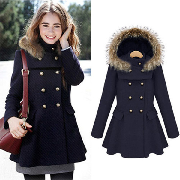 coat hood slim elegant