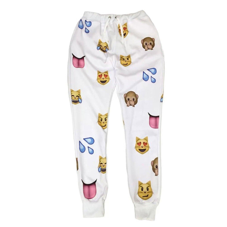 Voglee emoji black 3d sweatpants joggers at amazon women's clothing store: