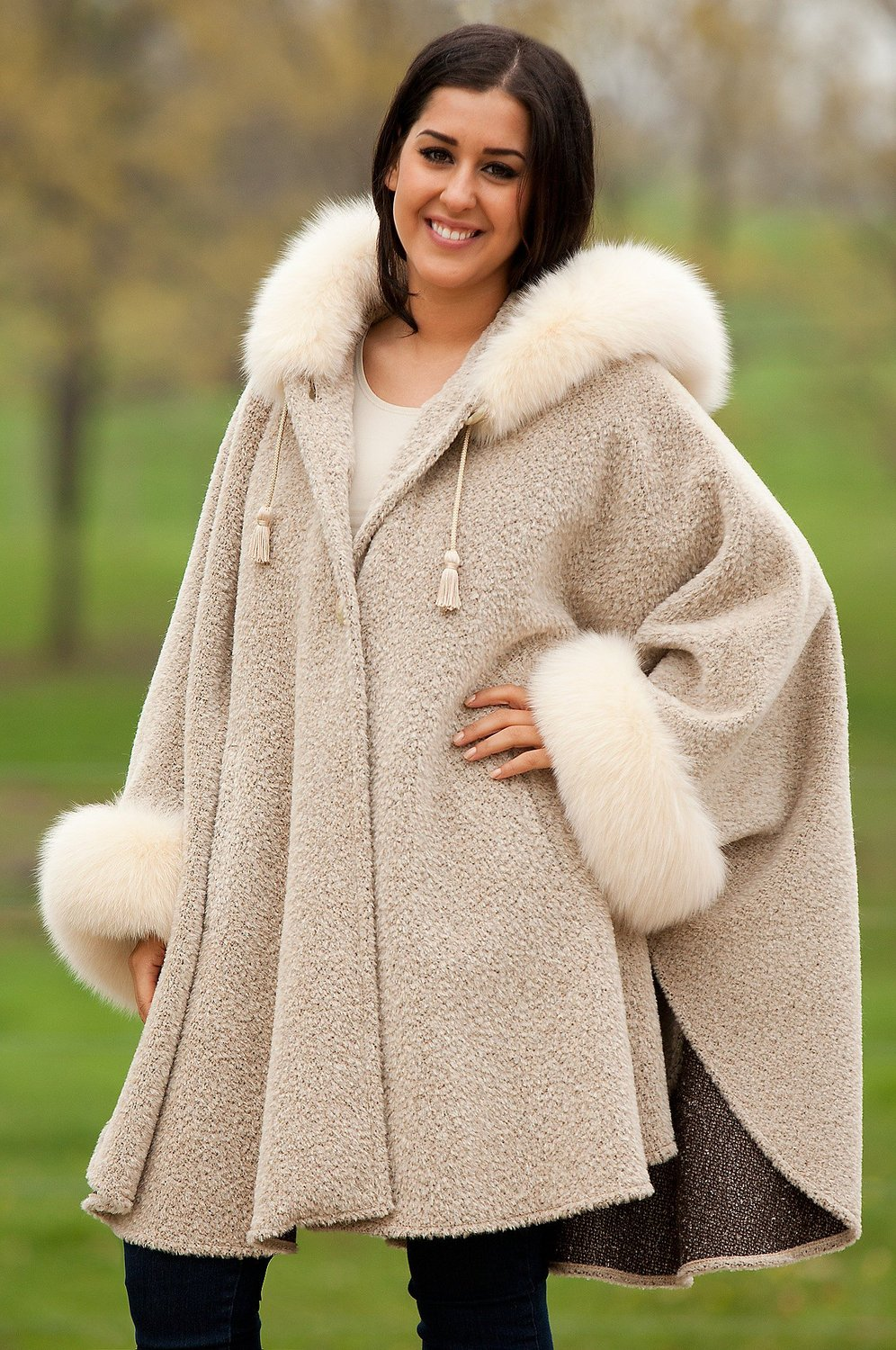 Women's skye hooded alpaca wool cape with fox fur trim, melange/camel, size 1 size at amazon women's coats shop