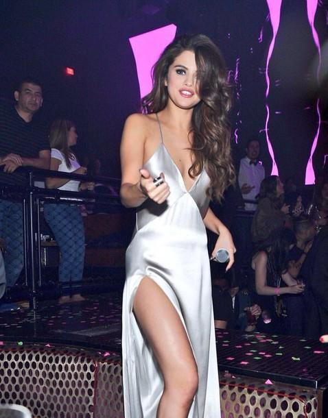 f679d75d7dae dress slip satin dress spaghetti straps dress selena gomez silver grey silk  formal dress selena silk