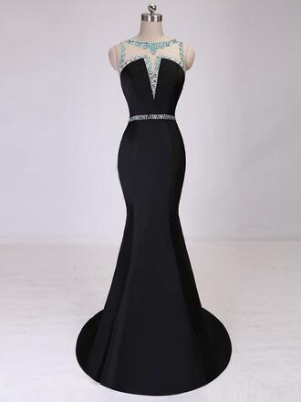 dress prom prom dress black satin trumpet mermaid mermaid prom dress bridesmaid long long dress maxi maxi dress crystal dressofgirl