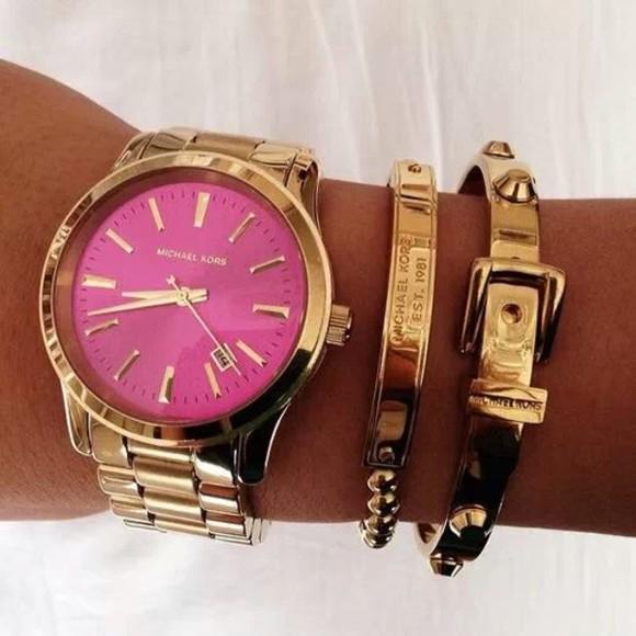 jewels watch gold micheal kors pink bracelets pink fashion mk mk watch girly michael kors