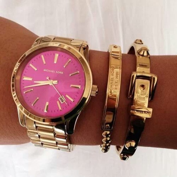 jewels watch bracelets gold pink fashion michael kors hot pink rose gold buckles belt bracelet belt chain gold chain pretty lovely tan white stud studs time undefined michael kors michael kors watch girly hair accessory michael kors michael kors jewels michael kors watch gold watch clock