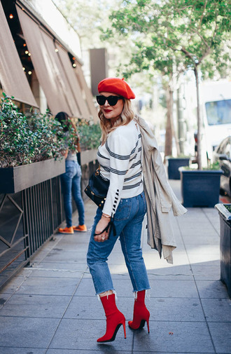 thehuntercollector blogger top coat jeans shoes bag sunglasses