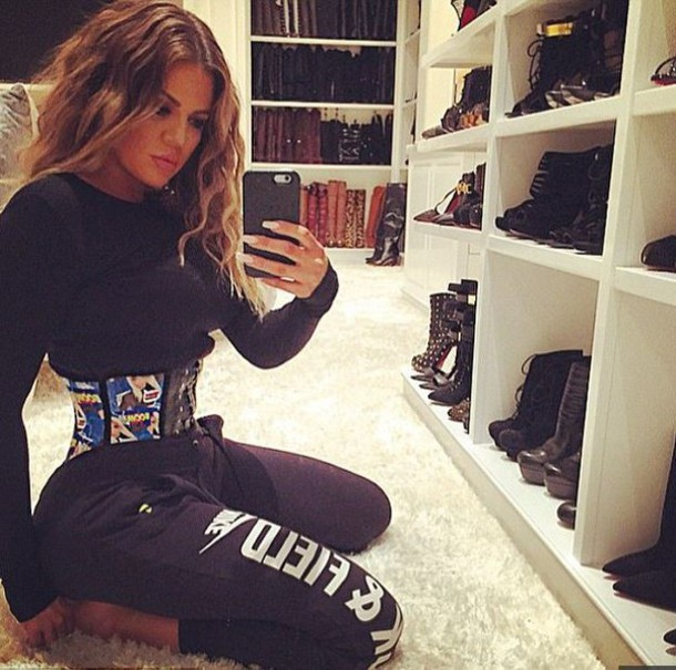 Pants: sweatpants, belt, khloe kardashian, nail polish, top, workout ...