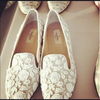 shoes dentelle white white shoes ballerine flats flat loafers