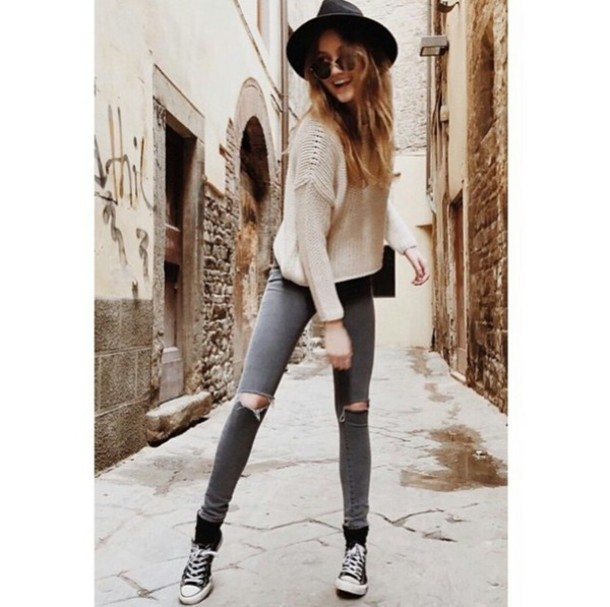 Gray ripped skinny jeans – Global fashion jeans collection