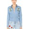 Floral embroidered cotton denim shirt