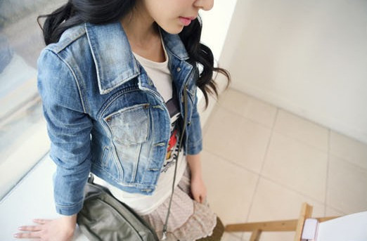 2013 New Style Girls Denim Jacket Distressed Crop Denim Jean Jacket Coat-in Basic Jackets from Apparel & Accessories on Aliexpress.com