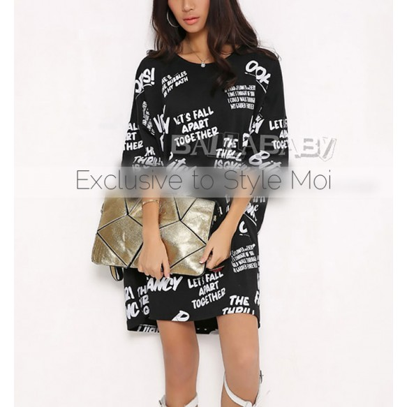 T-Shirt Dress With Letter Print
