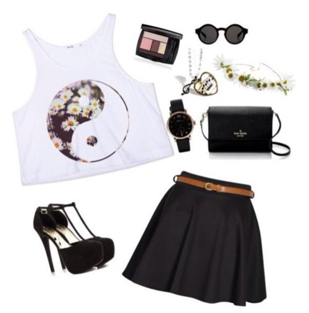 shirt yin yang crop tops daisy