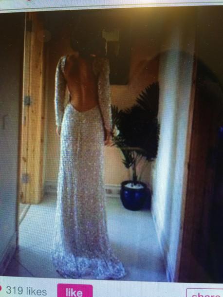 dress long dress long sleve dress open back dresses backless dress silver dress prom dress