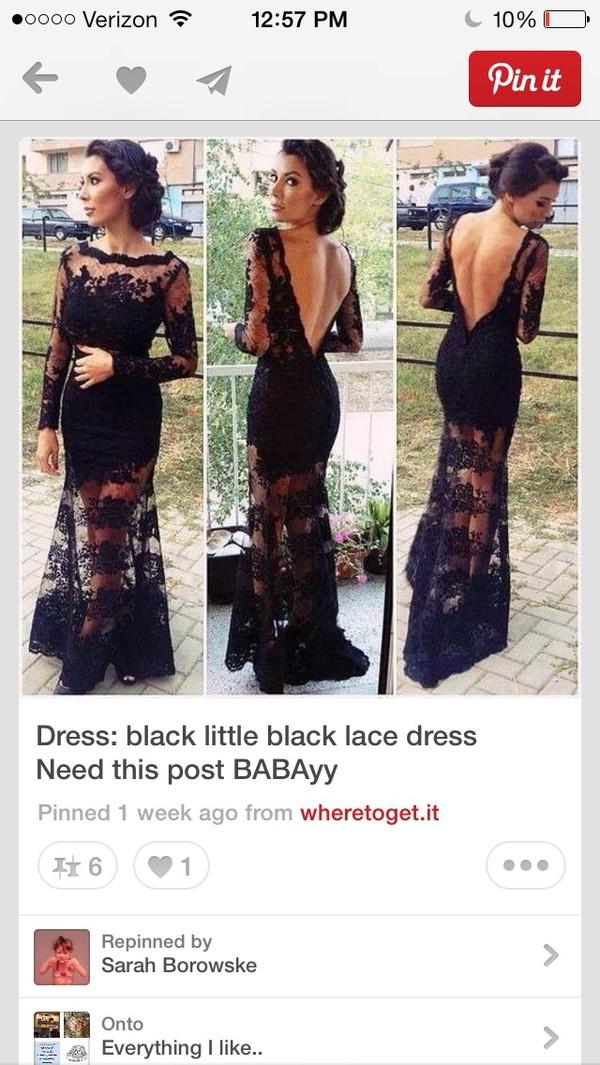 black dress open back mesh dress mesh lace dress black lace dress evening dress prom dress