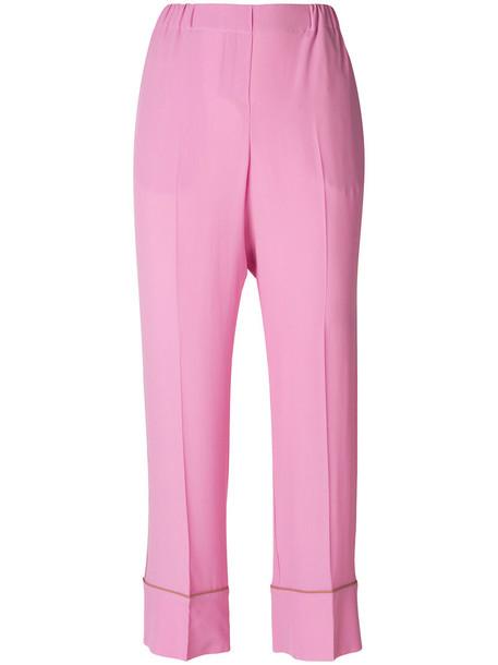 No21 cropped women silk purple pink pants