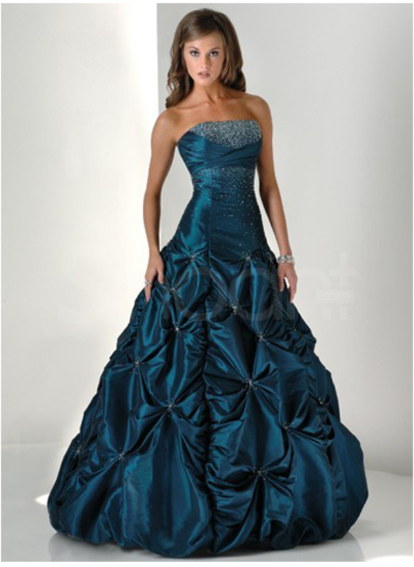 dress sleeveless taffeta blue prom dress strapless and natural waistline floor length and have neadings