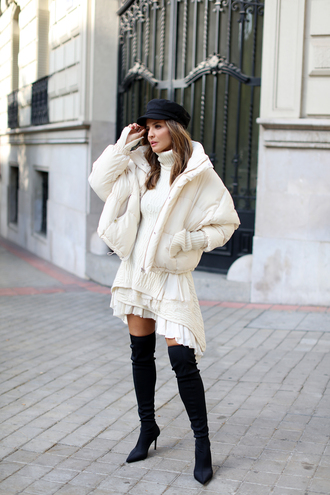 jacket tumblr white jacket puffer jacket boots black boots over the knee boots over the knee dress knit knitwear knitted dress hat fisherman cap