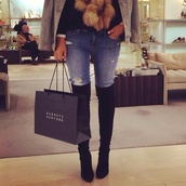 shoes,long boots,sexy,black boots,boots on top of knee,chique,jeans,clothes,tumblr clothes,black,little black boots,high heels,h&m,ripped jeans,faux fur jacket,high heels boots,knee high boots,thigh-high boots,boots,thigh high boots,black heels,pretty,gorgeous,beautiful