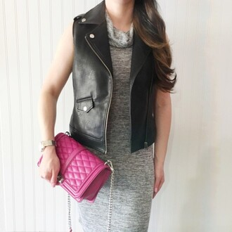 the double take girls blogger jacket dress bag sweater leather jacket grey dress pink bag chanel chanel bag maxi dress