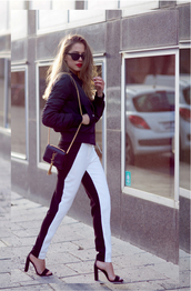 kenza,blogger,pants,sunglasses,black and white,striped pants,bomber jacket,black sandals,yves saint laurent bag