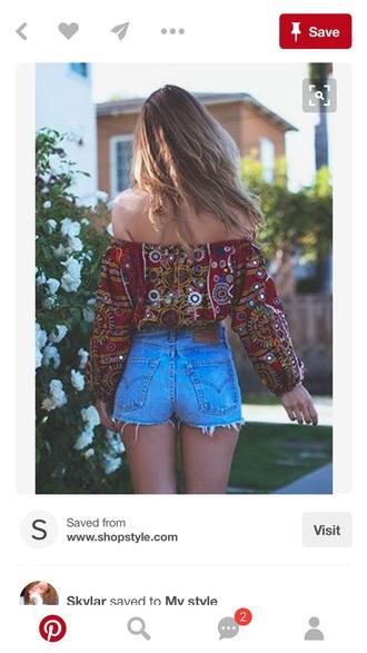 shorts blouse boho off the shoulder top red denim shorts