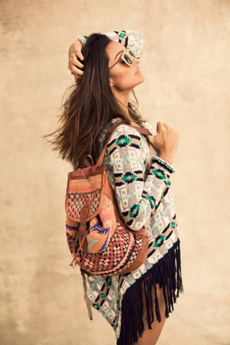 sweater boho oversized sweater loose navajo ethnic ethnic print bag