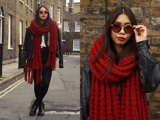 Diy Red Giant Scarf, River Island High Waist Jeans, Kippie Black Leather Biker Jacket, Clarks Black Leather Boots, Brown Sunglasses -  red giant - Fan Wan | LOOKBOOK