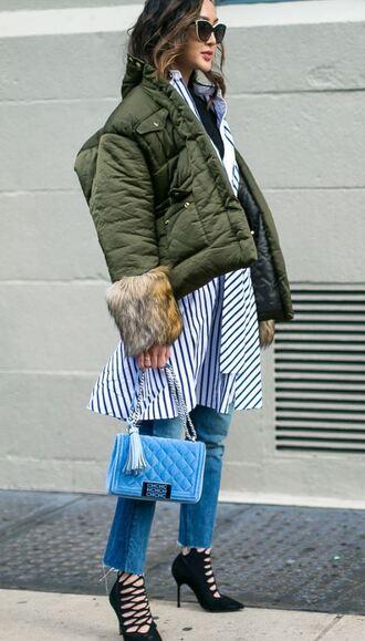 shirt shirt dress stripes striped dress striped shirt jeans jacket pumps ny fashion week 2017 streetstyle nyfw 2017