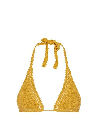 bikini bikini top triangle bikini triangle crochet dark yellow swimwear